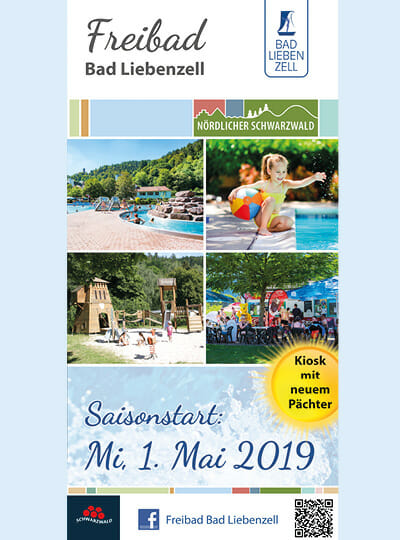Cover Freibad Flyer mit Kindern, Spielplatz, blauem Wasser und viel Natur