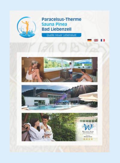 Imageflyer Titelseite, Außenbecken bei Sonnenschein und Panorama-Sauna mit Blick auf die Burg Liebenzell