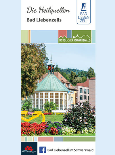 Heilquellen Flyer Titelseite mit Trinkhalle im Kurpark Bad Liebenzell