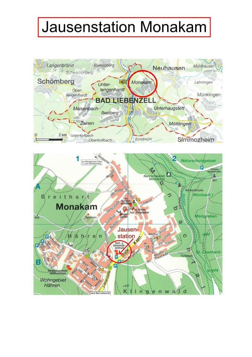 Kartenausschnitt Jausenstation Monakam