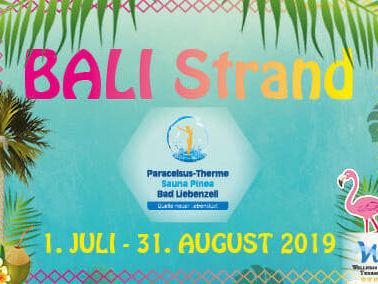 Logo Bali Strand, Palmen, Flamingo und blauer Hintergrund